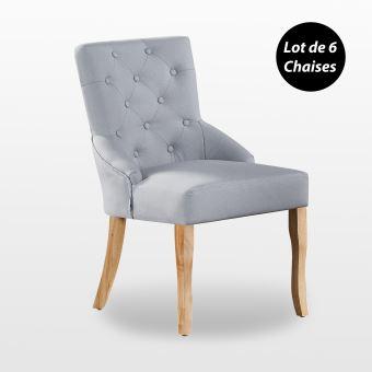 KENSINGTON Lot de 6 Chaises Capitonnées en Tissu Gris Pieds en Bois Design & Classique Salle à Manger, Salon ou Chambre