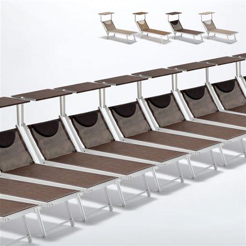 Bain de soleil transats piscine aluminium lits de plage Santorini Limited Edition 20 pcs, Couleur: Chocolate - Marron Santorini