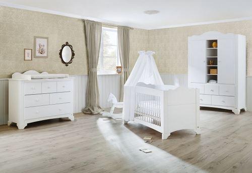 Pinolino Chambre de bébé Pino 3 pièces lit de bébé évolutif commode à langer large armoire grande