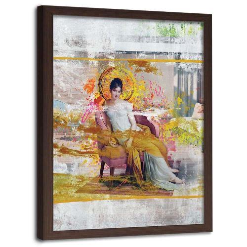 Feeby Image encadrée Impression cadre mural marron, Dame dans une chaise 40x60 cm
