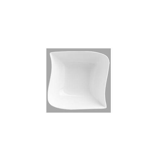 Coupelle carrée design vague - 14 x 14 cm - Porcelaine