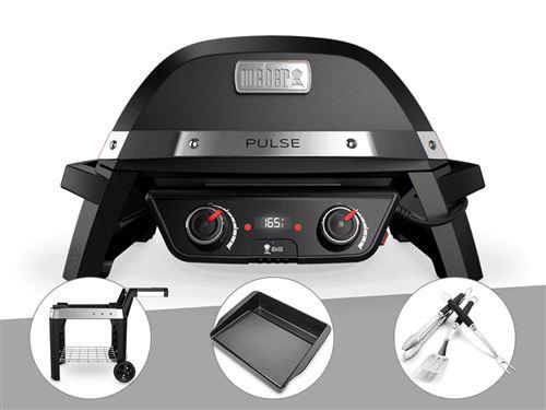 Barbecue électrique Weber Pulse 2000 + Chariot + Plancha + Kit Ustensile