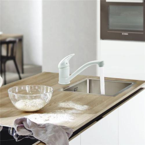 Mitigeur évier de cuisine Blanc NF Robinet d\'evier avec Bec mobile et tete  céramique