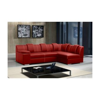 Justyou Livia Canape D Angle Cuir Eco Rouge 260x165 Achat Prix
