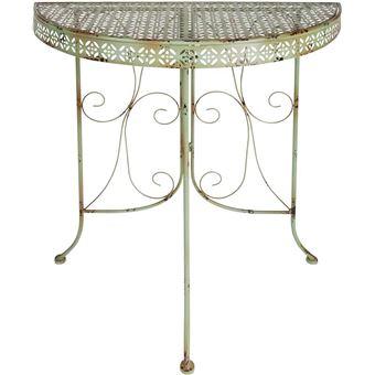 Esschert Design - Table de jardin mi-ronde en métal
