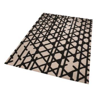 Tapis Moderne Esprit Artisan Pop Motif Geometrique Noir Et Blanc
