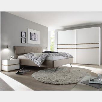 Chambre Adulte Blanc Laque Et Bois Linus 2 L 160 X P 200
