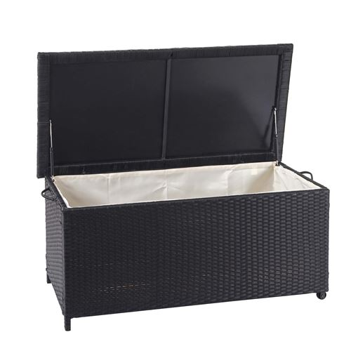 Coffre à coussins en polyrotin, HWC-D88, coffre jardin ~ Premium noir, 51x115x59 cm, 250l