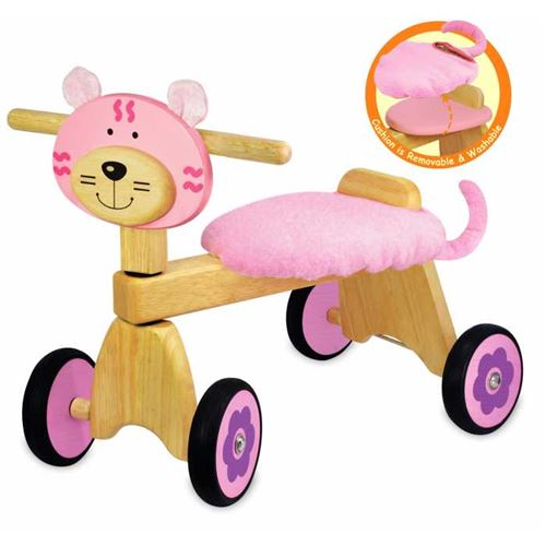 Porteur pousseur en bois le Vélo 4 roues Chaton rose b5b04e22267