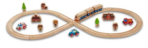 Everearth Jeu de rails en bois 32 pièces