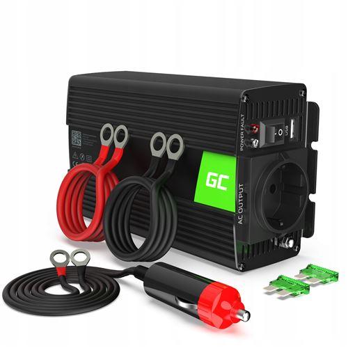 Green Cell® 500W/1000W Pur Sinus Convertisseur de Tension DC 24V AC 220V/230V Power Inverter sinusoïdale, Onduleur Transformateur avec Connection USB