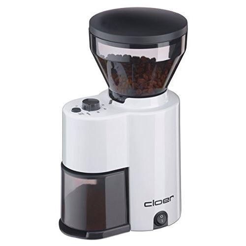Cloer moulin à café électrique avec broyeur conique pour 2?12 tasses et 300 g grains de café, 150 w, mouture réglable weiß