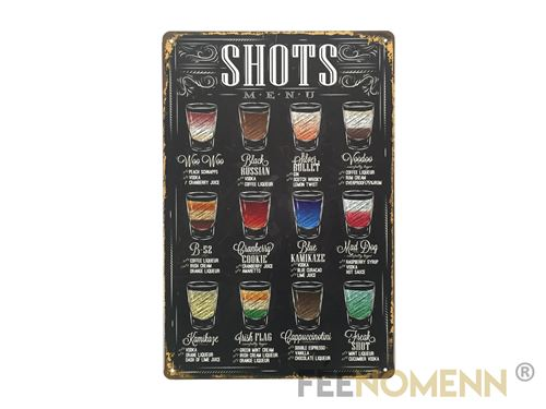 plaque métal déco vintage - les shots à boire en soirée - façon menu ardoise (20x30cm)