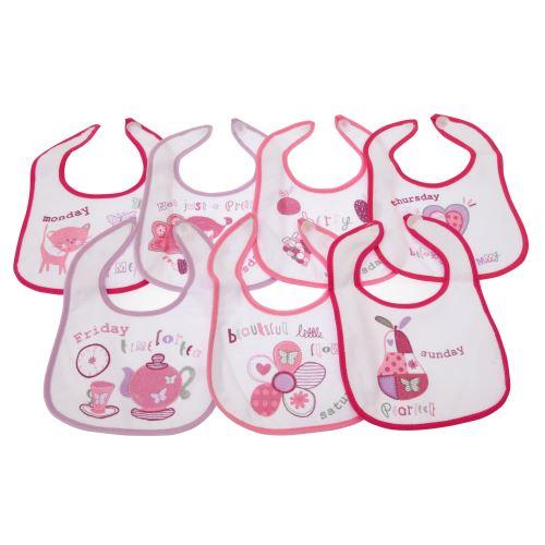 Bavoirs imprimés 7 jours de la semaine pour bébé (lot de 7) - Bébé (Nouveau-né) (Rose) - UTBABY806