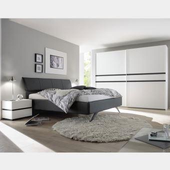 Chambre adulte blanc et gris laqué LINUS - L 180 x P 200 cm ...