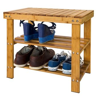 SoBuy® Etagère à chaussure,Banquette,Rangement salle de bain,Bambou ...