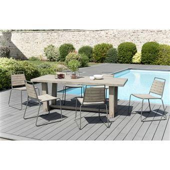 Salon de jardin en teck teinté, comprenant 1 table à manger rectangulaire  et 3 lots de 2 chaises empilables bois et métal
