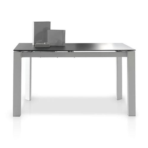 Table de repas à allonge plateau verre noir mat - MISTA