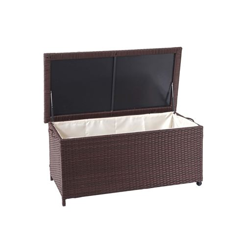 Coffre à coussins en polyrotin, HWC-D88, coffre jardin ~ Premium marron, 51x100x50 cm, 170l