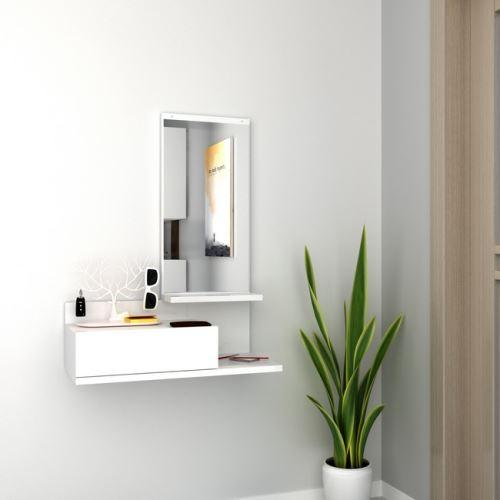 HOMEMANIA Vestiaire - Meuble d'Entree Mode avec Miroir, Tiroir, Étagères - Blanc en Bois, 60 x 29,8 x 80 cm
