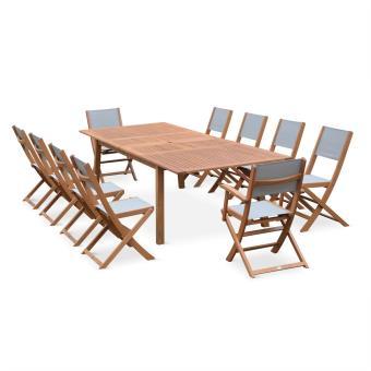 Salon de jardin bois 10 à 12 places textilène gris - Alice\'s Garden ...