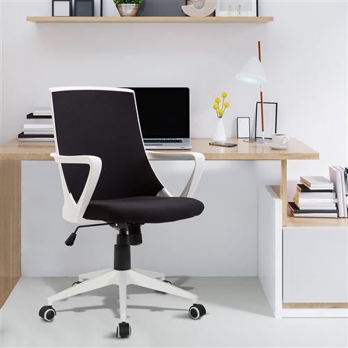 Ergonomique De Chaise 360° Confort Bureau Hauteur Fauteuil Grand Pivotant Réglable Textilène Noir Blanc UqSzMVp