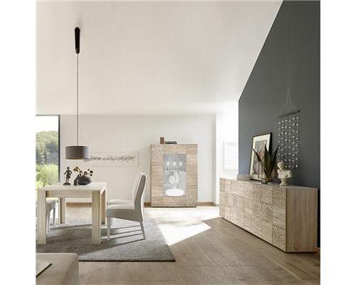 Séjour couleur chêne enfilade 4 portes et table 180 ELMA 3 - L 180 x P 90 x H 79 cm