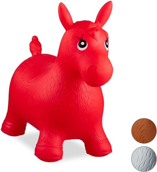 Relaxdays Hopping Horse, Air Pump Included, Up to 50 kg, BPA-Free, Space Hopper Ballon Sauteur Cheval Jouet Jeux Enfant Animaux, Rouge, 10024991_47, 48 x 26 x 58 cm