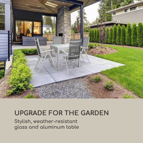 Blumfeldt Pamplona Extension Table de jardin extensible - plateau en verre  teinté & aluminium - blanc