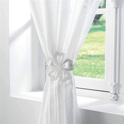 Embrasse broche pour rideau - D 15 cm - Petaly - Blanc