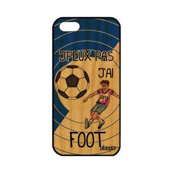 Coque Apple iPhone 5 5S SE en bois silicone j peux pas j ai foot pas cher Bleu