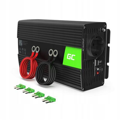 Green Cell® 1000W/2000W Pur Sinus Convertisseur de Tension DC 24V AC 220V/230V Power Inverter sinusoïdale, Onduleur Transformateur avec Connection USB