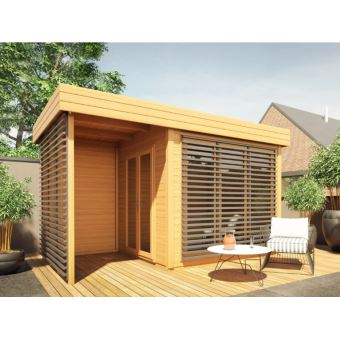Abri de jardin en bois AMAKO + Terrasse couverte - 10.2 m² ...