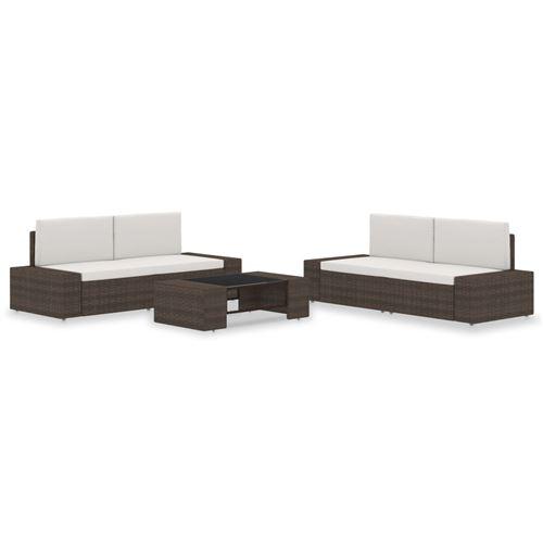 vidaXL Salon de jardin - 2 canapés + 1 table basse - Résine tressée marron et coussins blancs