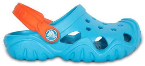 Crocs enfants swiftwater sabots <strong>chaussures</strong> sandales en electric bleu tangerine orange 202607 4gq