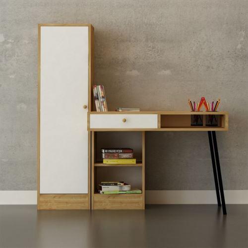 HOMEMANIA Bureau Tuna - avec armoire intégrée, étagère, portes, porte-stylos - pour bureau, studio, chambre - Chêne, Blanc, Noir en Bois, Métal, 100 x 60 x 140 cm