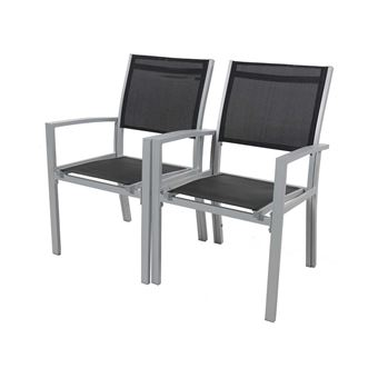 fauteuil jardin alu/textilène tropic - phoenix - noir - lot de 2