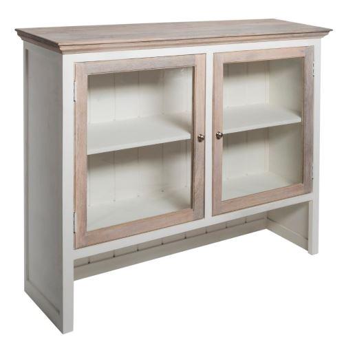 Haut de buffet coloris blanchi en bois - L. 140 x l. 40 x H. 120 cm -PEGANE-