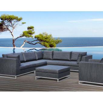 Delorm - Salon de jardin en aluminium et tissu d\'oléfine Ibiza