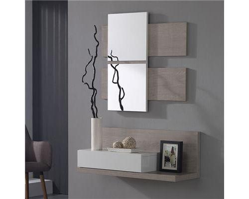Meuble entrée couleur bois clair et blanc moderne UDSON - L 80 x P 30,5 x H 30,5 cm