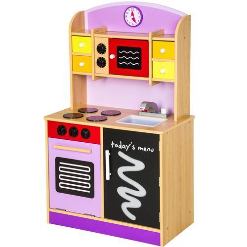 Cuisine dinette cuisinière en bois pour enfant jeux jouet moderne jeu du rôle d'imitation chef set kit orange violet