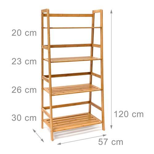 Armoire étagère meuble salle de bain multifocntion en bambou 120 cm