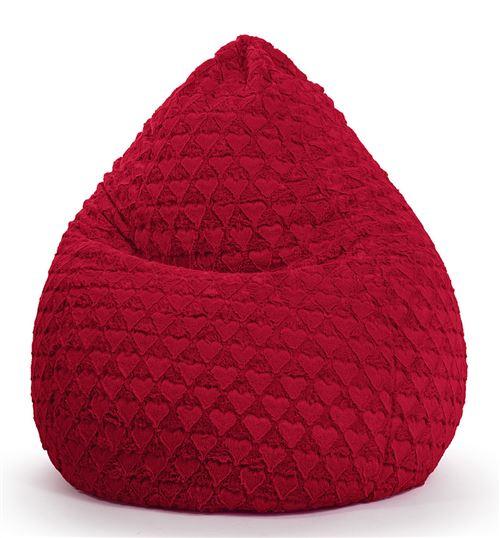 Pouf Fluffy Hearts L rouge