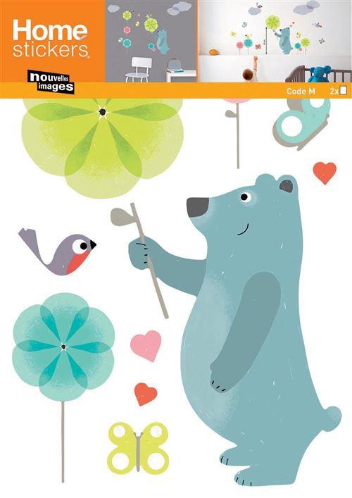 Nouvelles Images - Sticker mural ours bleu