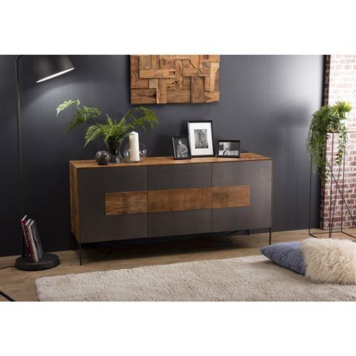 Buffet bois 2 portes 3 tiroirs Teck recyclé façade métal et pieds métal