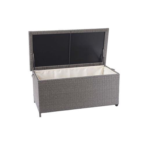 Coffre à coussins en polyrotin, HWC-D88, coffre jardin ~ Premium gris, 51x100x50 cm, 170l