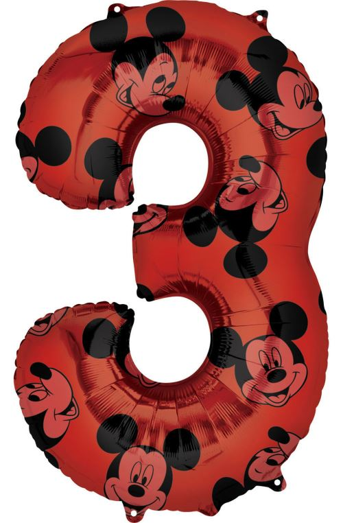 Amscan ballon d'aluminium Mickey Mouse 3 ans junior 43 x 66 cm rouge