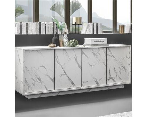 Bahut 180 cm effet marbre blanc design ICELAND - L 180 x P 43 x H 79 cm
