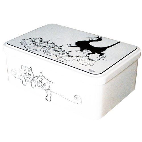 Boite rectangulaire métallique Les chats par Dubout