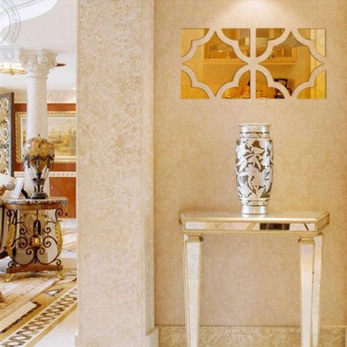 4 Mosaïques 3D miroir acrylique dorées adhésif (25 x 100 cm)